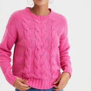 American Eagle Knit Chenille Crew Neck Sweater